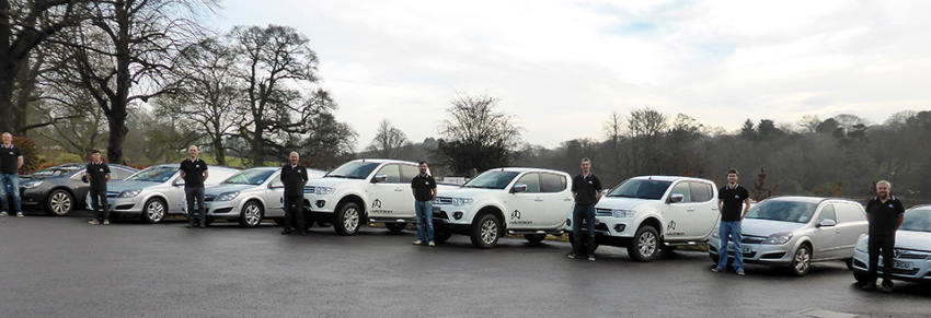 3D Services staff and vehicles